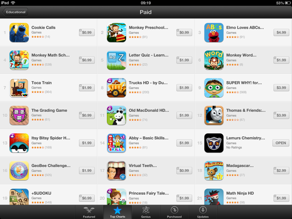 A list of the top 21 paid educational iPad games, with icons